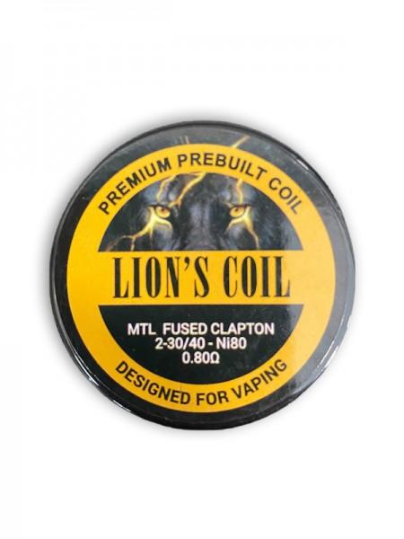 Lion's Coil Premium Prebuilt Coil 10pcs-MTL Fused Clapton N80 0.80 0.80ohm