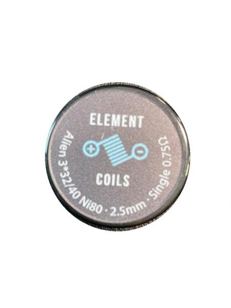 Atmoulis Element Coils Alien3*32/40 Ni80 2,5mm Single 0,75Ω